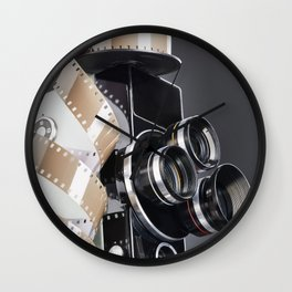 Retro mechanical movie camera and reel film Wall Clock