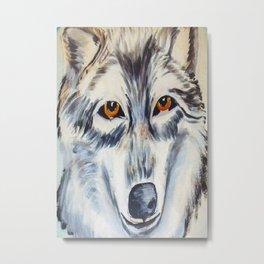 Wolf Stone Metal Print
