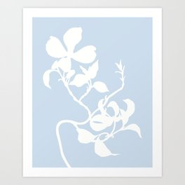Dogwood in Pale Blue - Original Floral Botanical Papercut Design Art Print