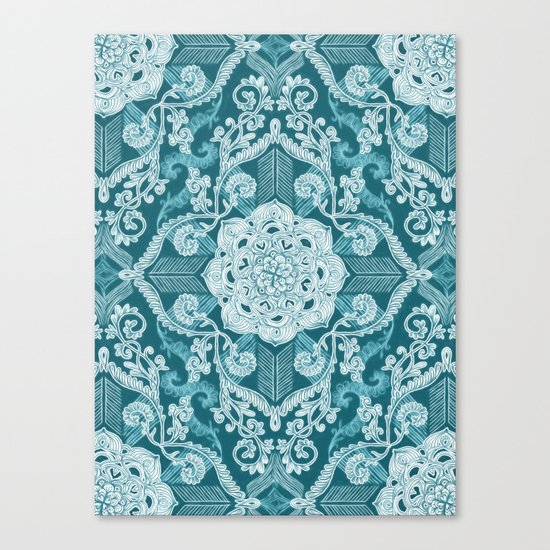 Centered Lace - Teal  Canvas Print