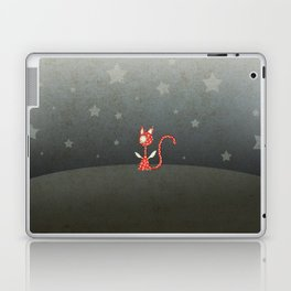 Small winged polka-dotted red cat and stars Laptop & iPad Skin