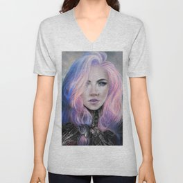 Futuristic sci-fi girl with pink hair portrait Unisex V-Neck