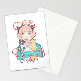 Pink Haired Crazy Cat Lady with her 3 Cats Watercolor Illustration Stationery Cards