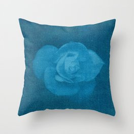 White Flower in Blue Throw Pillow