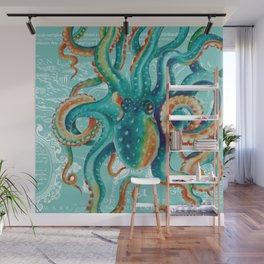 Teal Octopus On Light Teal Vintage Map Wall Mural
