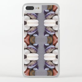 Tumbled Stones Photo Collage Stripes Pattern Clear iPhone Case
