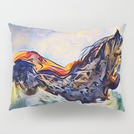 Wild Horse in Sea of Grass watercolor by CheyAnne Sexton Pillow Sham