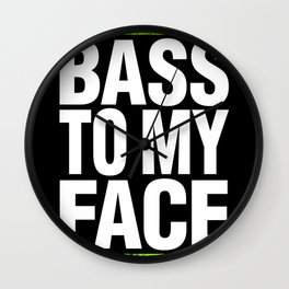 Bass To My Face (lime green/white) Wall Clock