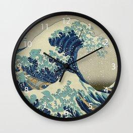 Illustration of blue japanese wave Wall Clock