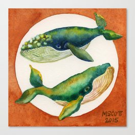 Yin Yang, Blue Whales Canvas Print