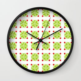 Symmetric patterns 138 green and red Wall Clock