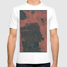 San Francisco Map Red MEDIUM White Mens Fitted Tee