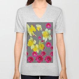 FUCHSIA FLOWERS & YELLOW DAFFODILS DESIGN Unisex V-Neck