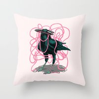 crow Throw Pillows featuring Crow by Devin McGrath