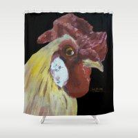 chicken Shower Curtains featuring Chicken by When Ed jogs