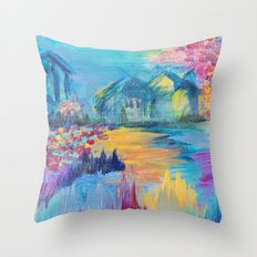 SOMEWHERE IN DREAMLAND - Simply Lovely Dream Village Blue Relax Christmas Abstract Serene Painting Throw Pillow