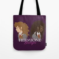 hermione Tote Bags featuring Hermione Granger by HappyQiwi