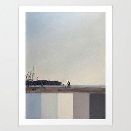 Bicycle. Baltic sea. Beach. Blue gray. Calm. Handpainted. Art Print