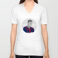 messi V-neck T-shirts featuring Messi by fabifa