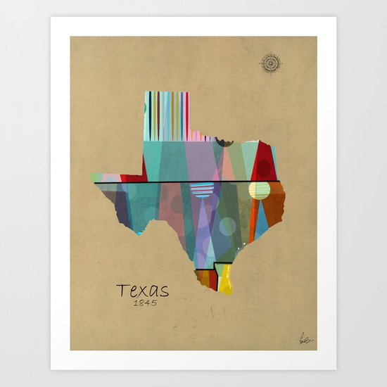Texas state map Art Print