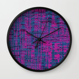 Pink and blue cool shapes create interesting art Wall Clock