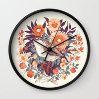 cup Wall Clocks featuring Wren Day by Teagan White