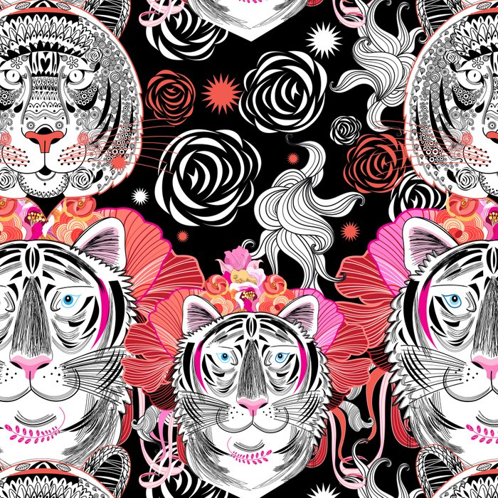 Beautiful graphic portrait of a tiger on a background of plants Leggings