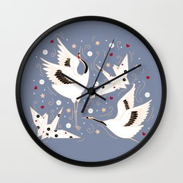 Origami Crane Metamorphosis (Blue) Wall Clock