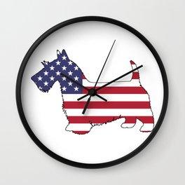 "Scottish Terrier ""American Flag"" Wall Clock"