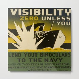 Illustrated Navy Poster Metal Print