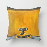 rothko Throw Pillows featuring Wall-E and Rothko by Renee Bolinger