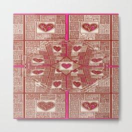 Sinking Heart Love Pattern 3 Metal Print