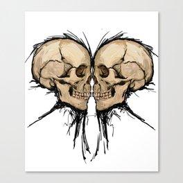 Double Skull Heart Canvas Print