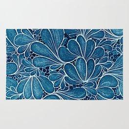 Funny flower in blue Rug