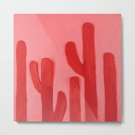 Red Acrylic Cacti on Pink Background Metal Print