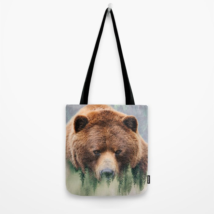 Grizzly Wood Tote Bag