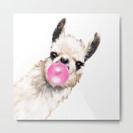 Bubble Gum Sneaky Llama Metal Print