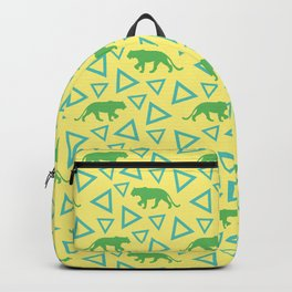 Wild African walking green female lion silhouettes and abstract triangle shapes. Stylish classy warm sunny pastel yellow seamless retro vintage geometric animal nature pattern. Backpack