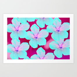 Turquoise Retro Flowers On Pink Background #decor #society6 Art Print
