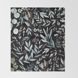Black Eucalyptus Pattern Throw Blanket