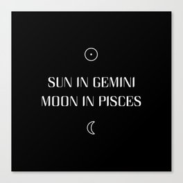 Gemini/Pisces Sun and Moon Signs Canvas Print