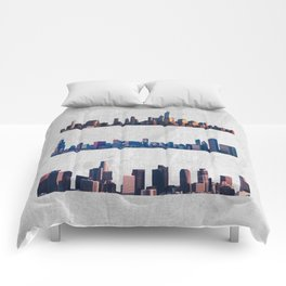Chicago, New York City, And Los Angeles City Skylines Comforters