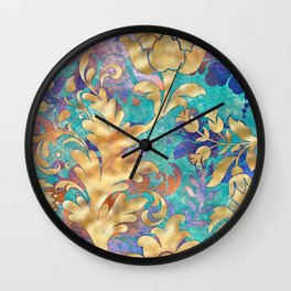 Jeweled Royale Floral Design in Gold, Blues, Purple Wall Clock
