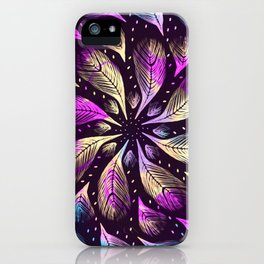 Outer Space Magick - Feathery Rainbow Mandala iPhone Case