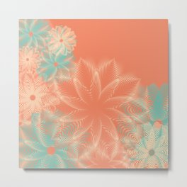 Abstract Floral in Teal and Coral Metal Print