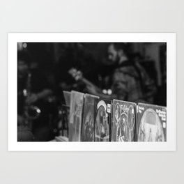 Jazz at the record shop Art Print