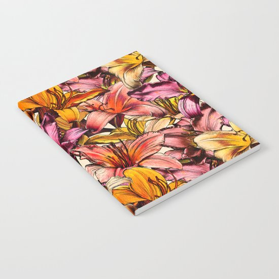 Daylily Drama - a floral illustration pattern Notebook