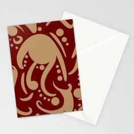 A Moderate Abstraction: Red and Tan Stationery Cards