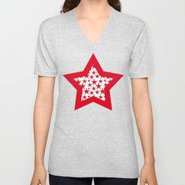 Red stars on white background illustration Unisex V-Neck