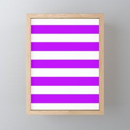 Electric purple - solid color - white stripes pattern Framed Mini Art Print
